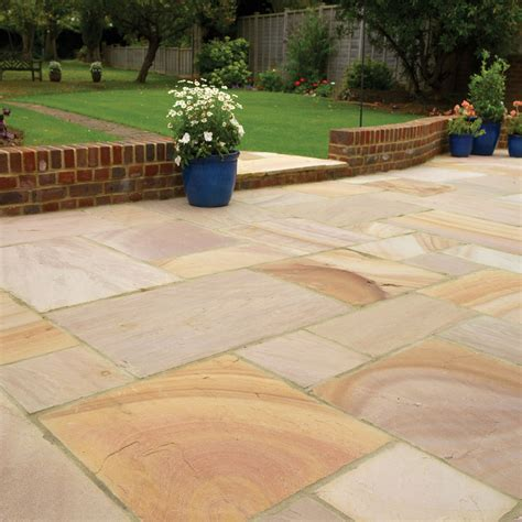 pavestone paving riven sandstone buff paving slabs mixed