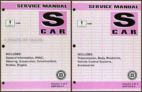car repair manuals online free 2005 pontiac vibe on board diagnostic system 2005 pontiac vibe repair shop manual original 2 volume set