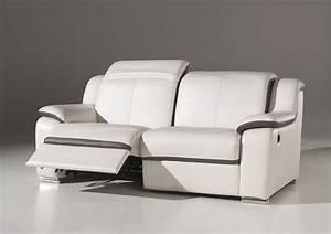 canape 3 places confort electrique en cuir blanc quoteclairquot With canapé cuir relax electrique 3 places monsieur meuble