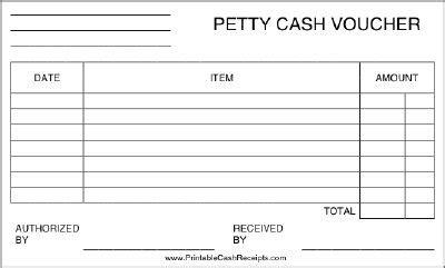 printable petty cash voucher includes room  list