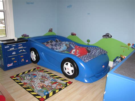 Boys Race Car Themed Room. Twin Size Little Tikes Car Bed