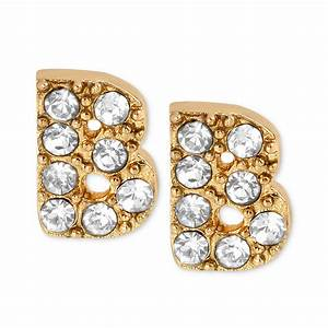 betsey johnson antique goldtone crystal b letter stud With letter stud earrings