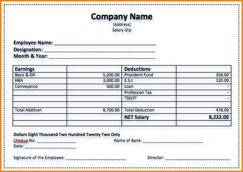 sample  salary voucher simple salary slip