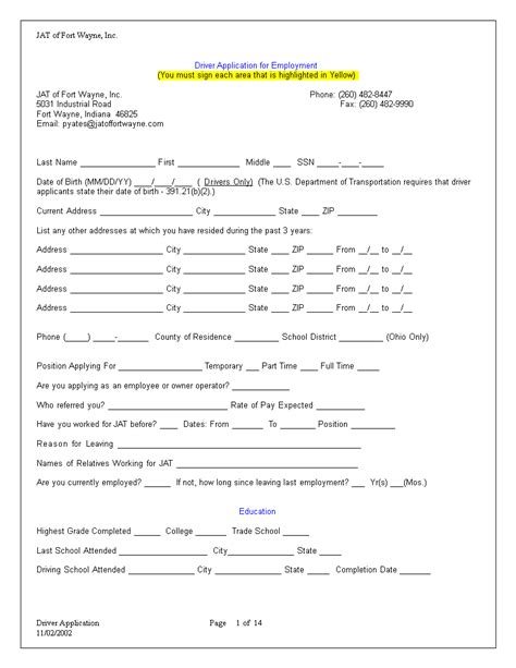 truck driver employment application word templates