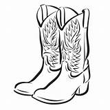 Cowboy Coloring Boot Pages Horse Clip Clipart sketch template