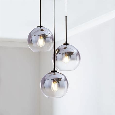sculptural glass globe 3 light chandelier small