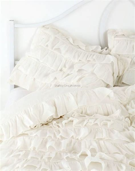 ivory shabby chic bedding shabby petticoat ruffle chic ivory ruffled queen bed duvet doona quilt cover new ebay