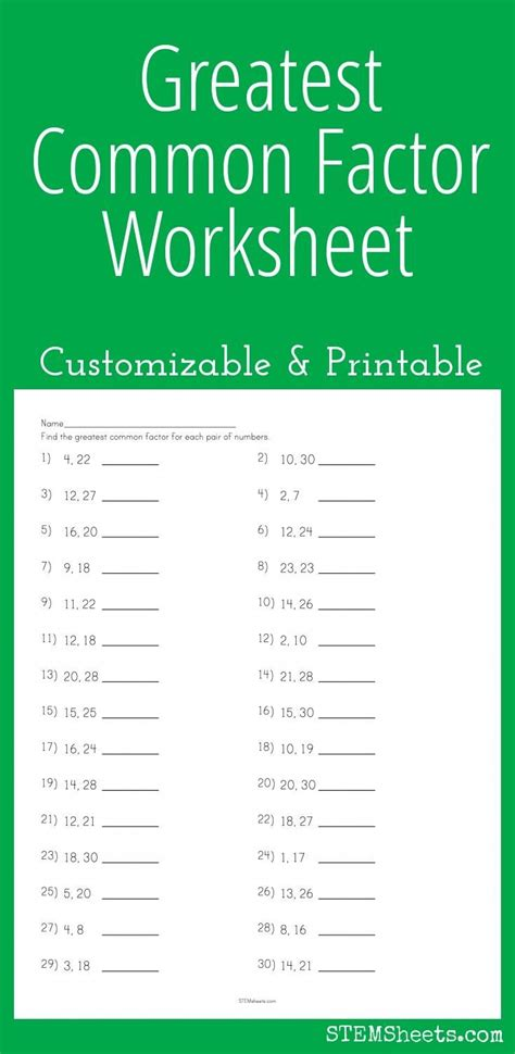 greatest common factor worksheets 4th grade greatest common factor worksheet customizable and