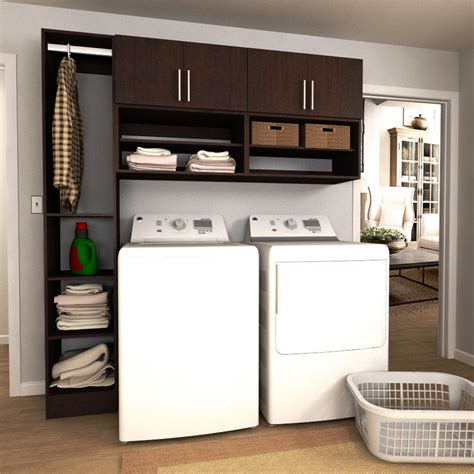 Modifi Horizon 75 In W Mocha Open Shelves Laundry Cabinet