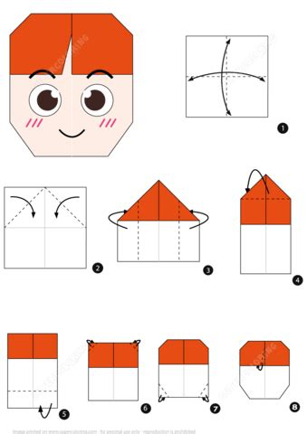 origami boy face instructions  printable papercraft