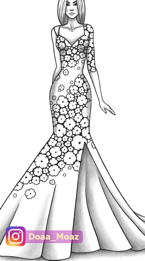 adult coloring page fashion  clothes colouring sheet model etsy   fashion