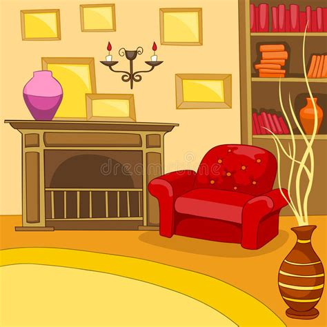 cartoon background  vintage living room interior stock