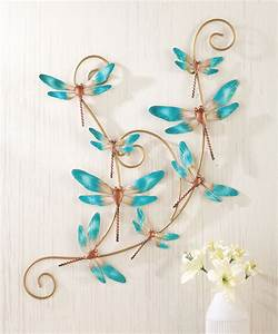 3d turquoise dragonfly hanging scroll metal wall art With dragonfly wall art