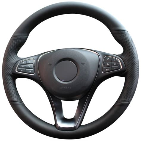 Car needed maintenance and we finally get our faulty takata airbags replaced. Loncky Auto Custom Fit Black Genuine Leather Black Suede Steering Wheel Cover for Mercedes Benz ...