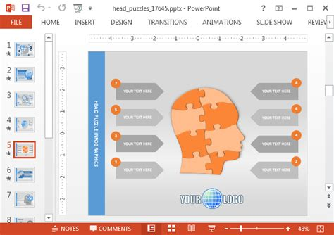 create animated mind maps  head puzzle powerpoint template