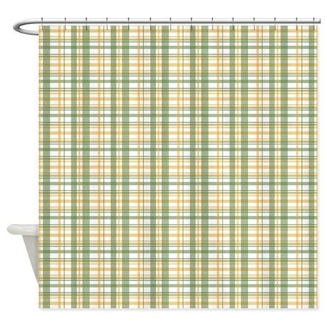 green yellow plaid shower curtain by printedlittletreasures
