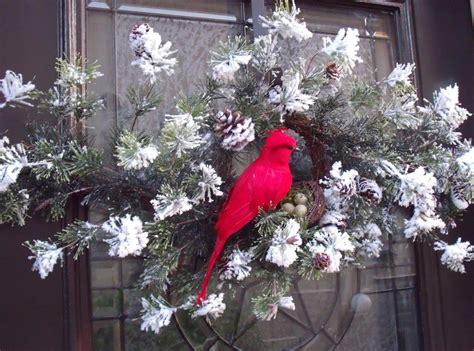 Cardinal Decor - wreath cardinal swag bird nest white