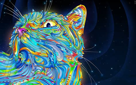 animals abstract matei apostolescu cat psychedelic