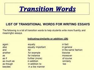 Good Example Of Argumentative Essay List Of Transition Words For Essays Pdf Era Of Good Feelings Essay also Essay For Internet Transition Words For Essays Custom Paper Custom Paper Transition  How To Write A 5 Paragraph Essay Outline