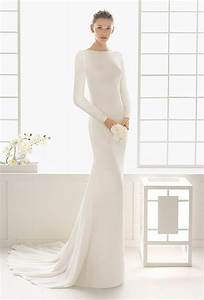 34 long sleeve wedding dresses for fall and winter With plain white wedding dresses