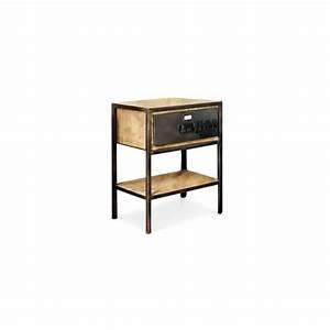 Table De Chevet Blanc Et Bois : table de chevet vintage industriel acier et bois achat ~ Teatrodelosmanantiales.com Idées de Décoration