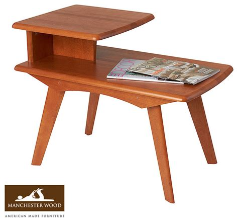 mid century accent table retro 2 tier end table by manchester wood midcentury