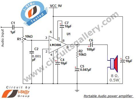 simple portable audio power amplifier circuit  lm