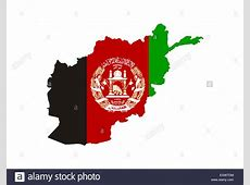 afghanistan country flag map shape national symbol Stock