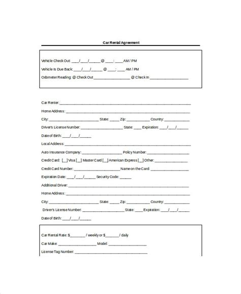 rental agreement templates  word  format