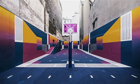 colorful basketball pigalle colorful basketball court cool material
