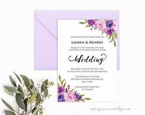 lavender invitation template purple lilac watercolor flowers With free wedding invitation templates lilac