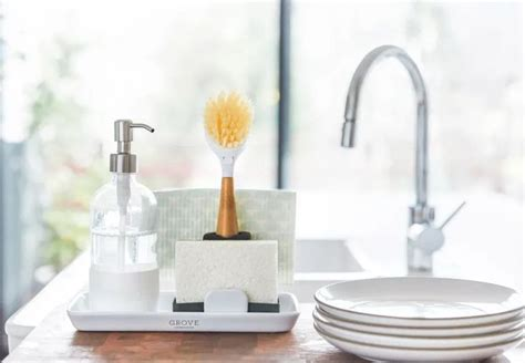 grove collaborative ceramic sink side tray white