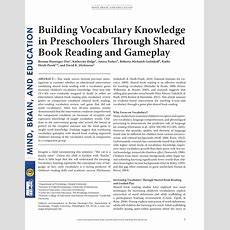 (pdf) Building Vocabulary Knowledge In Preschoolers Through Shared Book Reading And Gameplay