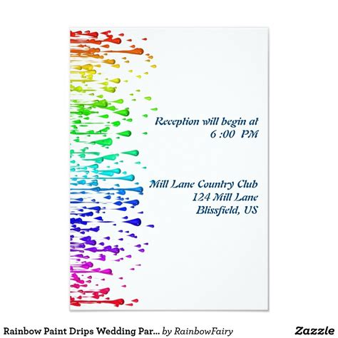 rainbow paint drips wedding party reception cards