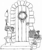 Coloring Pages Door Printable Adult Draw Colouring Wishing Well Colour Stamps Lots Beccysplace Digi Too sketch template