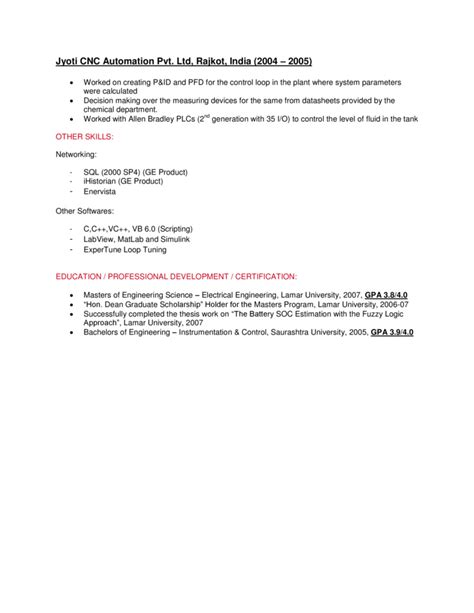 Plc Automation Engineer Resume by System Engineer Resume