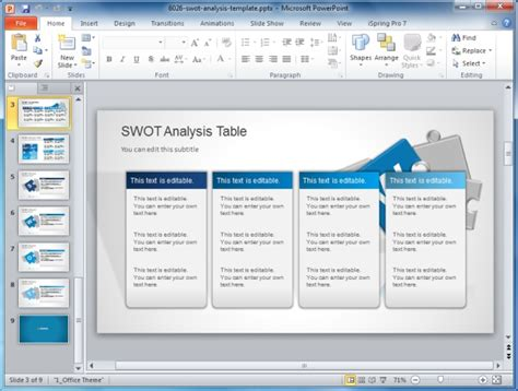 present swot analysis  powerpoint