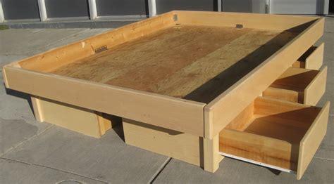 king platform bed frame with drawers plans