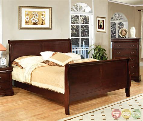 louis philippe iii traditional cherry sleigh bedroom set