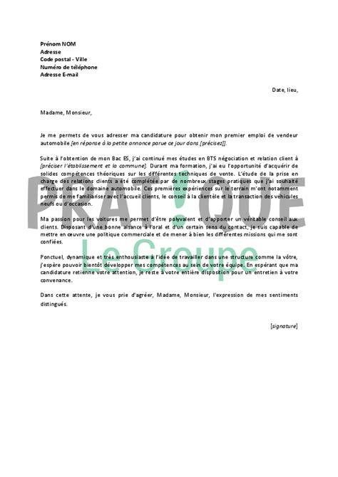alternance cuisine lettre de motivation pour un emploi de vendeur automobile