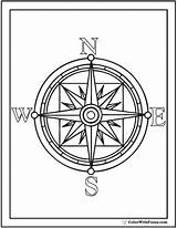 Compass Rose Coloring Pages Drawing Template Pirate Printable Colouring Printables Print Pdf Getcolorings North East West South Getdrawings sketch template