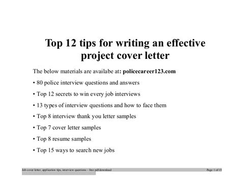 tips for writing an effective top 12 tips for writing an effective project cover letter