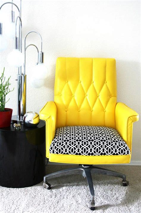 vintage office offices and yellow desk on