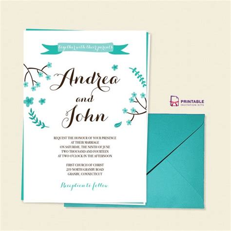 FREETemplate Floral Calligraphy Invitation Template