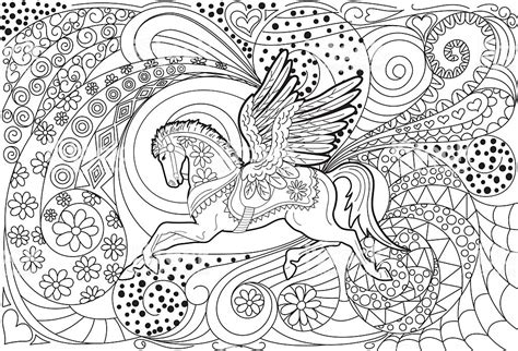 pegasus hand drawn adult coloring book page stock