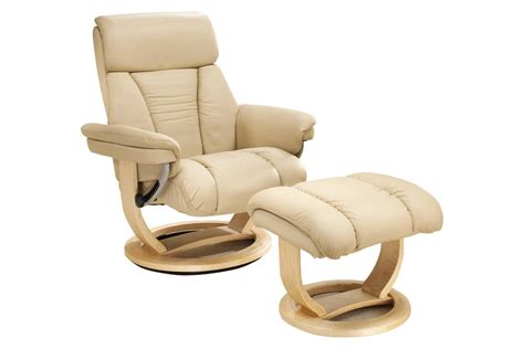 Contemporary cream leather recliner and ottoman with leather wrapped base. Swivel Chairs | HSL