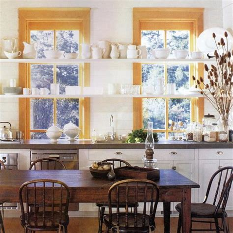open kitchen shelves  stationary window decorating ideas