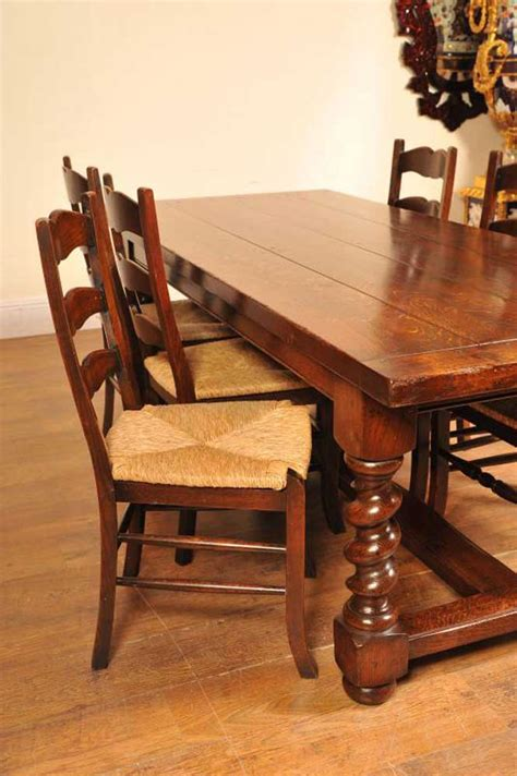 ladderback chairs refectory table kitchen set dining