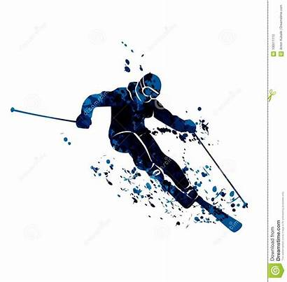 Skier Silhouette Watercolor Vector Illustration