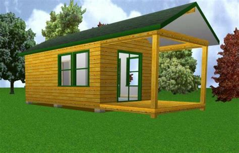 Porch Blueprints by 12x20 Starter Cabin W Covered Porch Plans Package